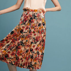 Maeve Nilla Floral Velvet Pleated Skirt XL Anthro